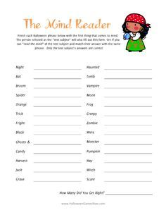"""The Mind Reader"" Game - Adult Halloween Games, Kids Halloween Games, Printable Halloween Games"