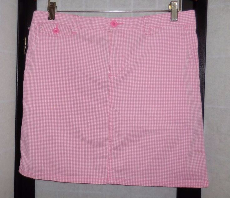 POLO JEANS Company Pink/White Checker Skirt with Pockets size 10 #PoloJeansCompanyRalphLauren #ALine