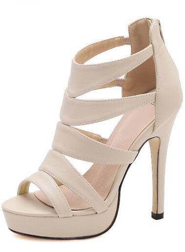 Camel High Heel Platform PU Sandals -SheIn(Sheinside)