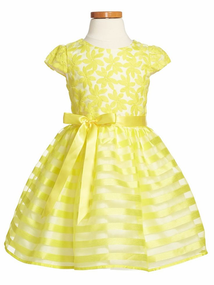 Us Angels Yellow Cap Sleeve Daisy Embroidered Organza Striped Dress