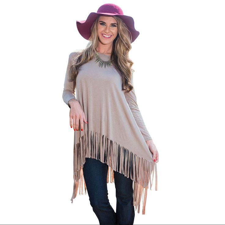 Fashion Khaki Autumn Fall Spring Long Sleeve Fringe Tassel Asymmetrical Hem Tee Dress For Women Ladies