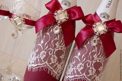 Свадебные аксессуары ручной работы. Свадебное шампанское в цвете марсала. Алия. Ярмарка Мастеров. Свадебные аксессуары, декор шампанского
