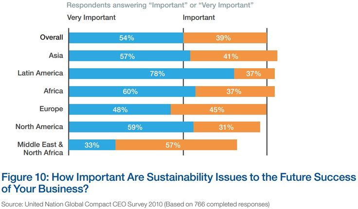 "SUSTAINABILITY: An opinion survey: How important are sustainability issues to businesses future environment? Source: ""Sustainable Consumption: Stakeholder Perspectives"""
