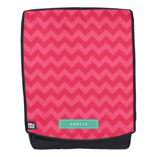Personalize with Name Preppy Pink Chevron Monogram Backpack by Rosewood and Citrus on Zazzle