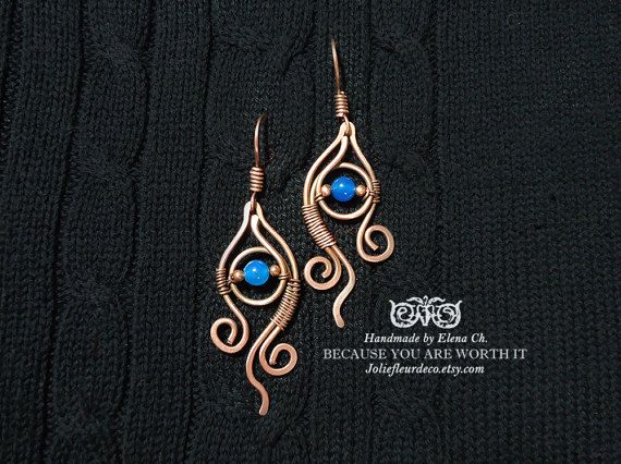 Copper earrings Blue agate earrings Antique Copper Metal Earrings Wire wraped Jewelry Wire Wrapped Earrings Asymmetrical Gemstone