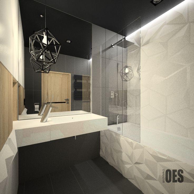 #miniłazienka drewno w łazience, okładzina z paneli 3d, nowoczesna łazienka