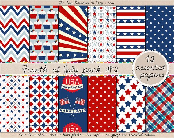 4th of July #Independence day patriotic pattern digital #scrapbooking papers in red and blue with stars, stripes and other patternns. #Scrapbooking #printable papers or #patterns for #crafts, #journaling, party organization and decor or any #DIY projects. 40% OFF with #coupon code HAPPY40