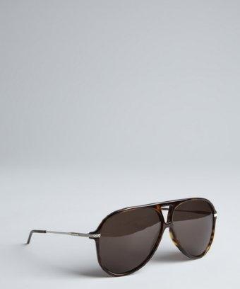 Dior Homme : brown havana acrylic 'Black Tie' aviator sunglasses