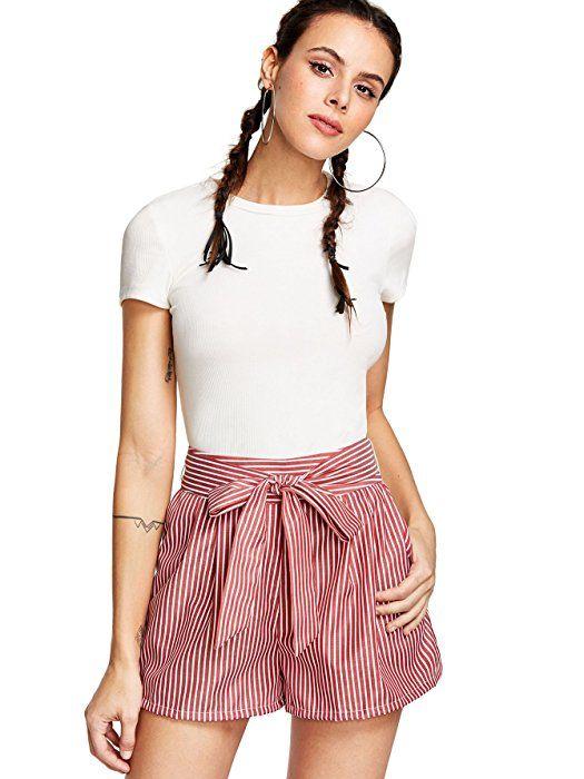 f8613e4cf33 Romwe Women s Casual Summer Elastic Waist Shorts Striped Walking Shorts  Black L at Amazon Women s Clothing store