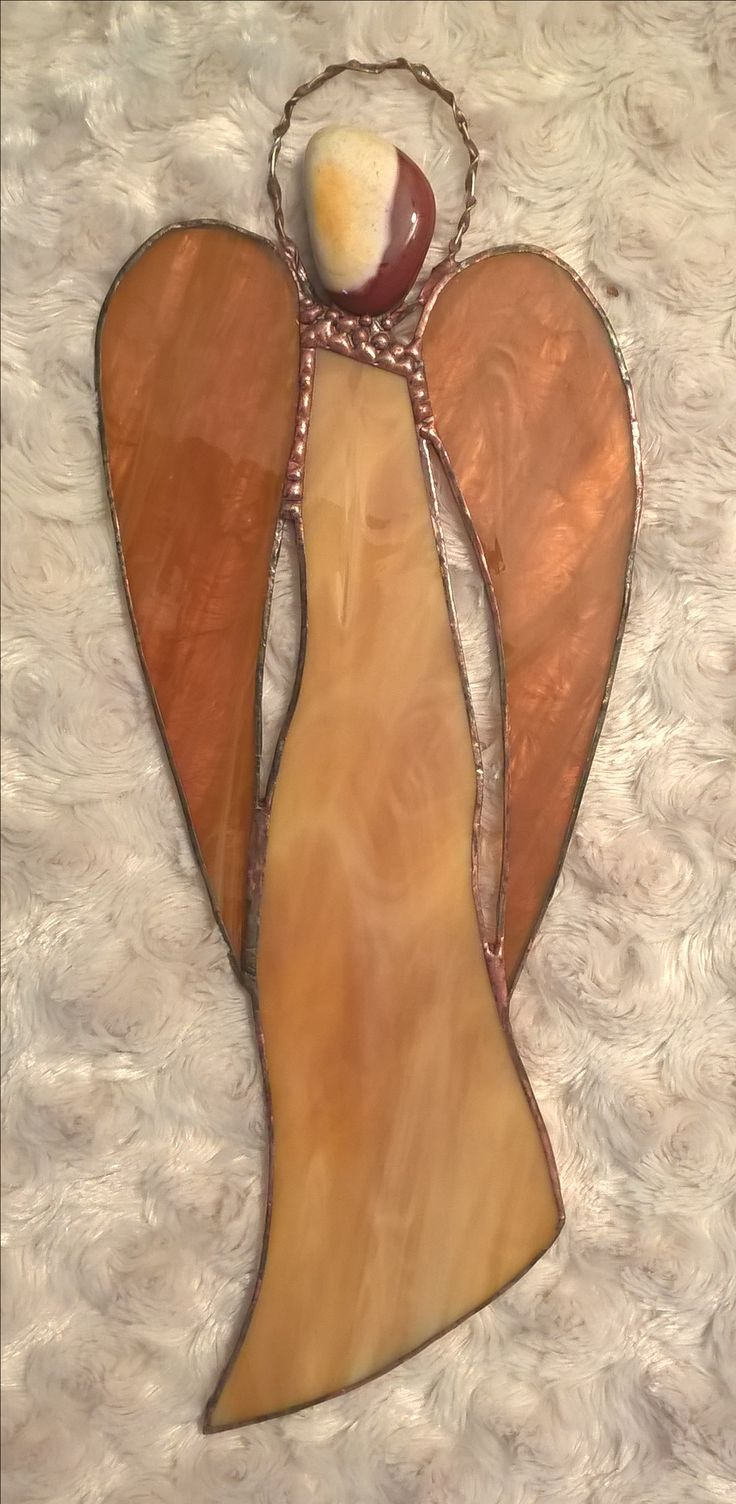 Brown stained glass angel Tiffany hnědý anděl