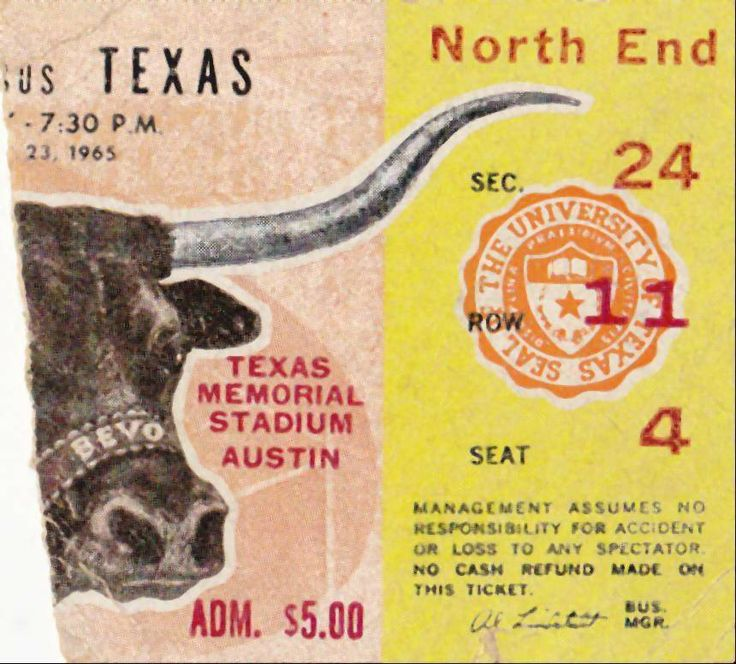 10-23-65 rice owls at texas longhorns ncaa football ticket stub from $9.99