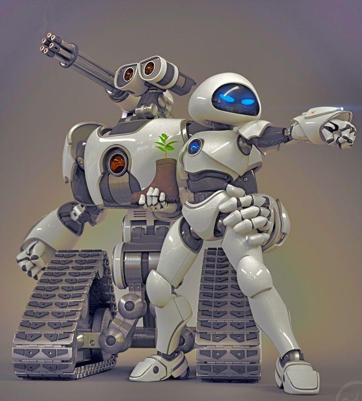 Wall.E And Eve The Robots by joseph11stanton.deviantart.com on @deviantART
