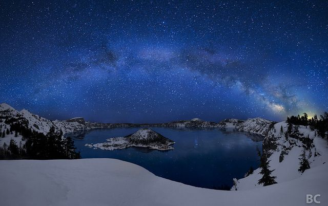 Crater Lake, Mount Mazama in Oregon, USA - A well-known crater lake, which bears the same name as the geological feature. It is the deepest lake in the United States with a depth of 594 m (1,949 ft). Crater Lake is fed solely by falling rain and snow, with no inflow or outflow at the surface, and hence is one of the clearest lakes in the world.