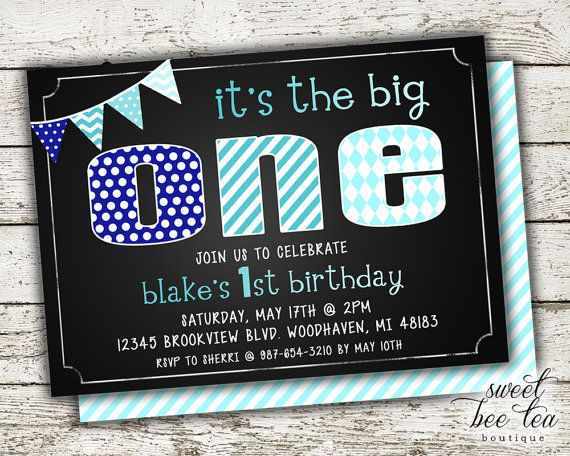 Baby Boys Blue Ombre Custom Birthday Invitation Invite - Printable Party Package - First 1st Birthday One - Chalkboard - Polka Dot Chevron
