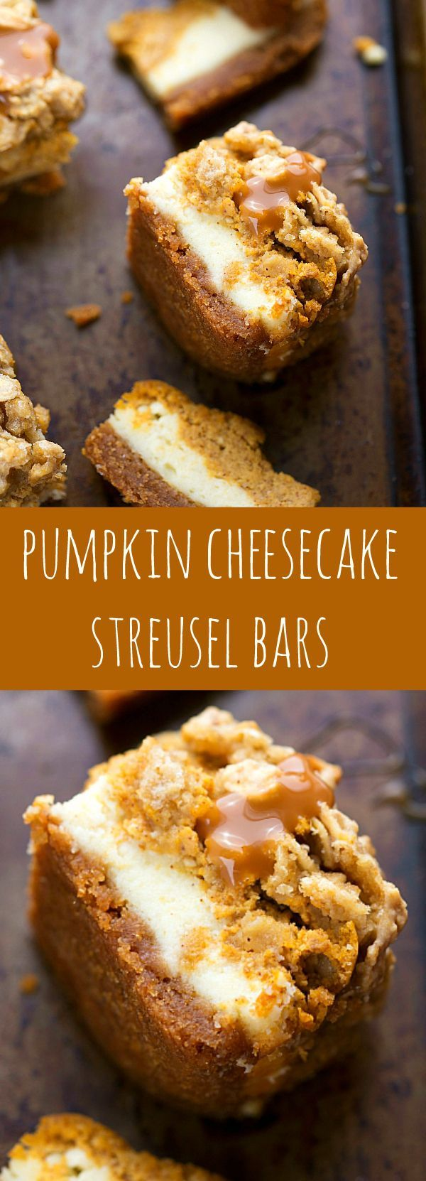 Two layers of cheesecake on a delicious cinnamon graham cracker crust all topped…