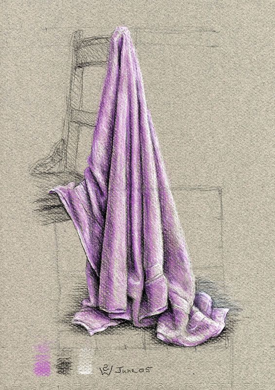 Tinting a Towel in Lilac 2005 violet, black and white chalk on grey pastel paper 30 x 21 cm by © Susan Dorothea White
