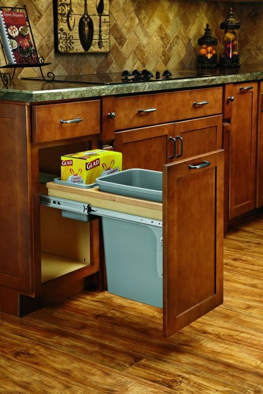 Rev-A-Shelf 4WCTM-12BBSCDM1 4WCTM Top Mount Single Bin Trash Can with Separate S Natural Wood Trash Cans 1 Bin Pull Out