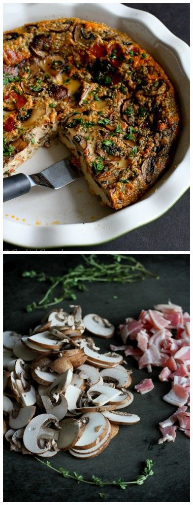Pancetta and Mushroom Crustless Quiche by cookingcanuck #Quiche #Pancetta #Mushroom