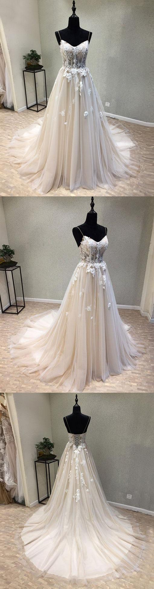 Champagne tulle lace long prom dress , champagne sweetheart neck tulle lace applique long wedding dress, lace evening dress
