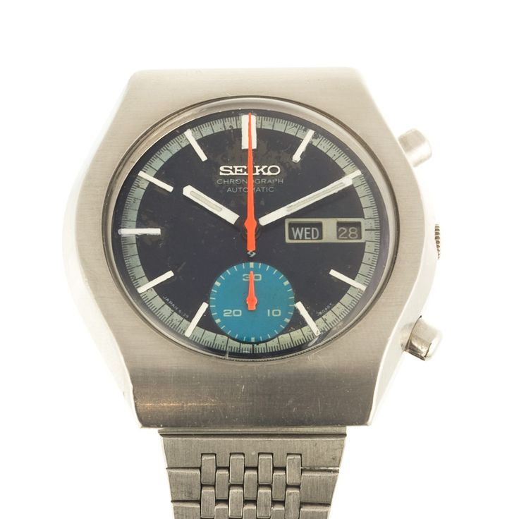 Seiko automatic watch with rare orange second hand - great combination of colours