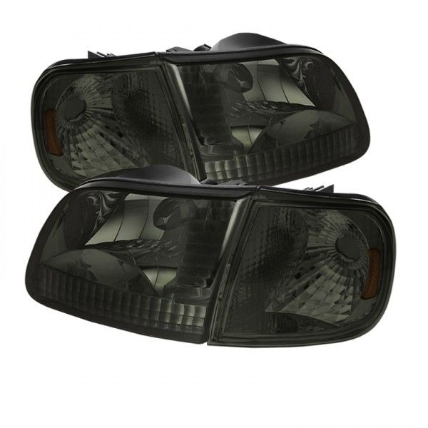 1998 FORD EXPEDITION SMOKE CRYSTAL HEADLIGHTS - SPYDER AUTO - (PAIR)