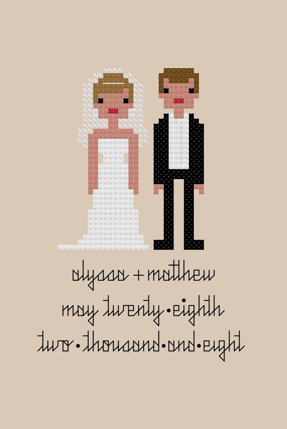 Custom PATTERN Pixel People Portrait Bride & by weelittlestitches, $12.00