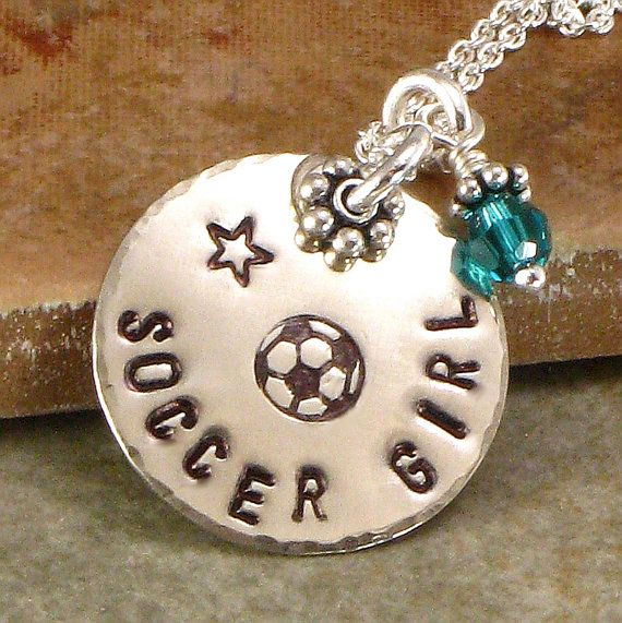 Necklace - Soccer Girl - Hand Stamped  - One Single Disc with Soccor Ball, Basketball, Football, Softball, Volleyball -  Sports Jewelry via Etsy