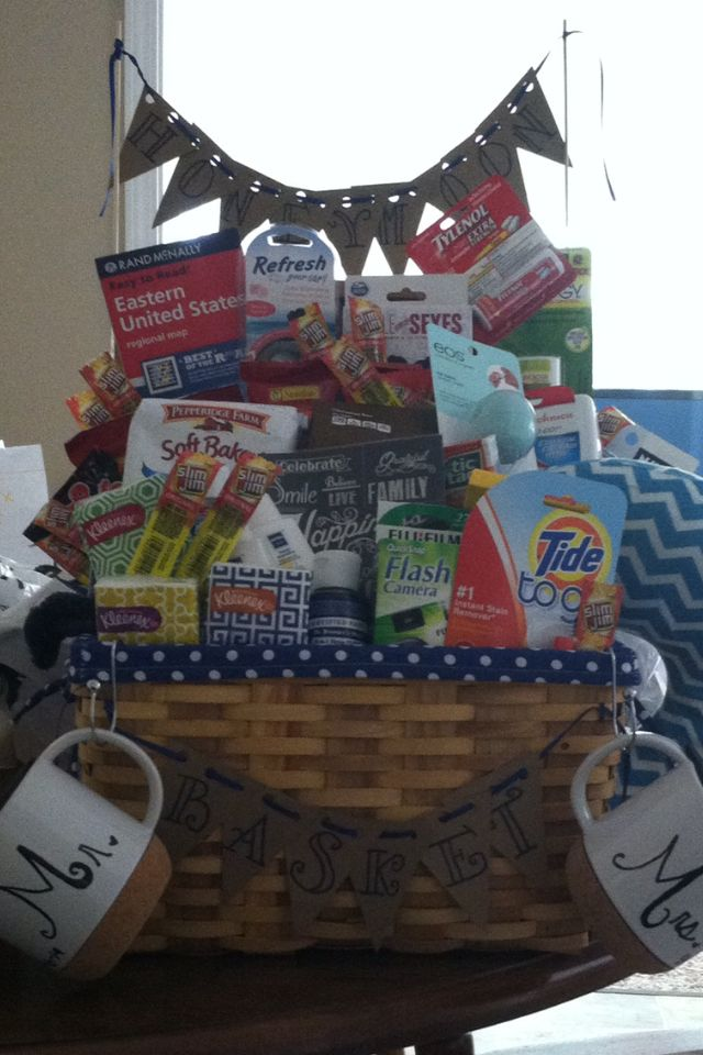 Honeymoon gift basket. Road trip themed. Everything is travel size!