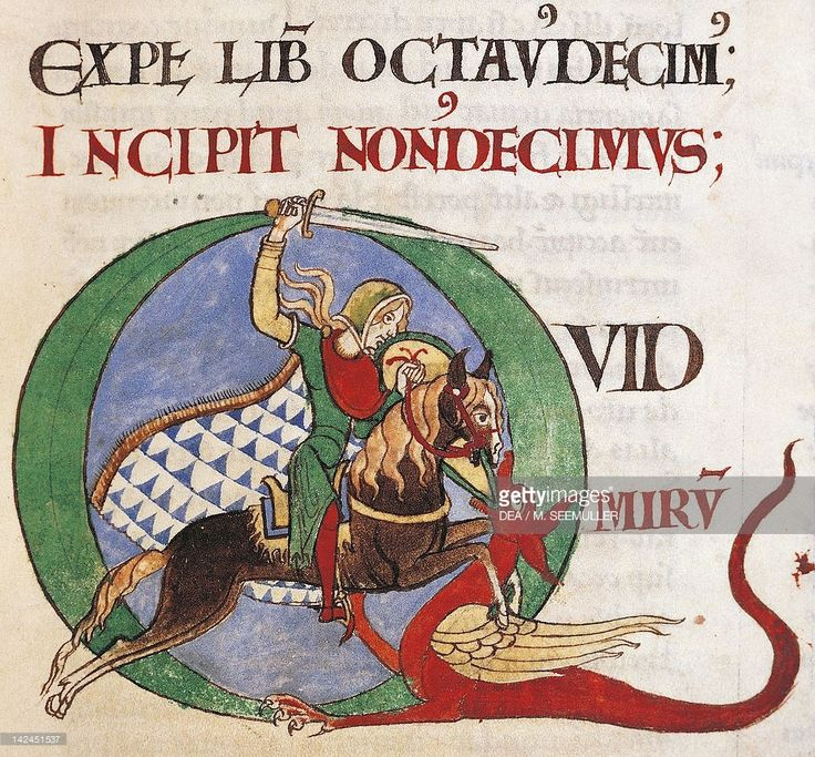 Stock Illustration : Illuminated initial capital letter Q, depicting a knight that kills a dragon, miniature from Moralia in Job (Commentary on Job), by Saint Gregory the Great, manuscript from Citeaux, folio 20 recto, France 12th Century.