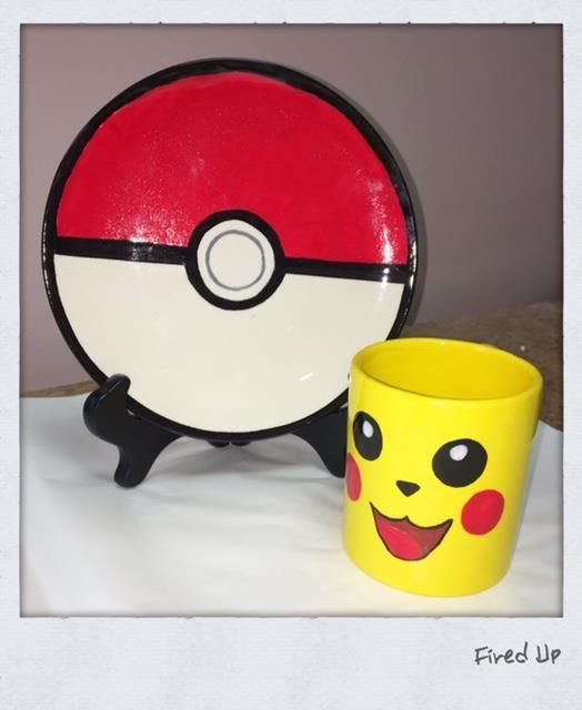 Pokemon Go paint your own pottery ideas. Pokemon ball plate and Pikachu mug.