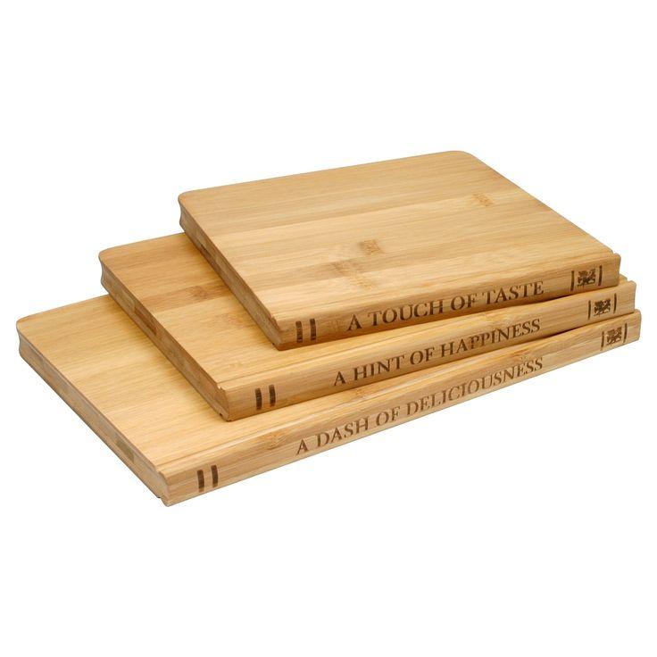 Sabatier Library 3 Pack Bamboo Cutting Board Set, Natural