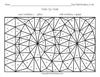 even and odd coloring page 100th Day Pinterest