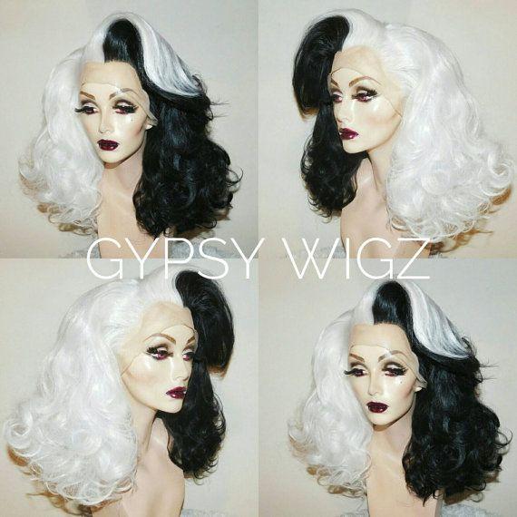 Cruella Deville // Disney Cosplay // Disney Villain // Drag Queen // Show Girl // Black and White // Lace Front // Wig