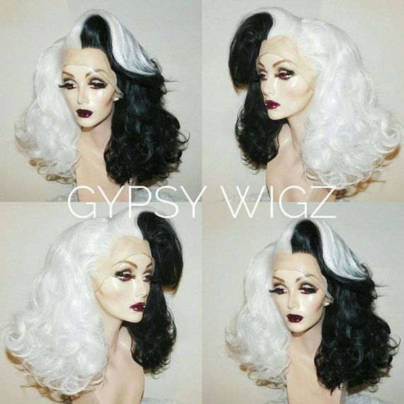 Cruella Deville // Disney Cosplay // Disney Villain // Drag Queen // Show Girl // Black and White // Lace Front // Wig