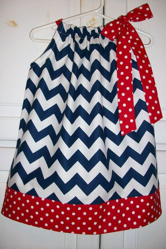 Pillowcase Dress CHEVRON July 4th Patriotic red white navy blue Riley Blake baby toddler girl