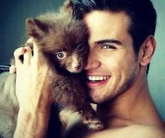Sexy guy with animal