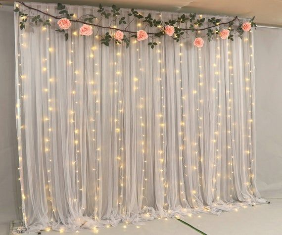 Navy Blue Tulle Wedding Backdrop For Reception Romantic