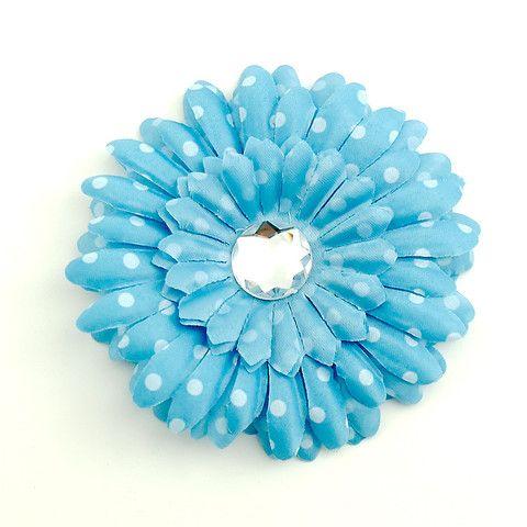 Sky Blue Dot Daisy Hair Flower at www.catslikeus.com