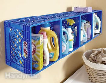 Shelf for laundry with plastic crate