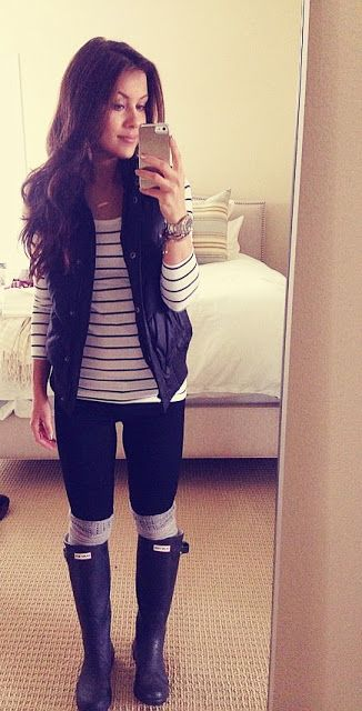 Super cute Rainy day outfit: H stripe tee, Gap vest,  Ginette_ny necklace, Urban Outfitter OTK socks and Hunter rain boots