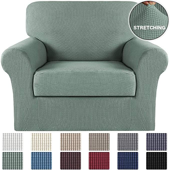 Amazon Com Turquoize 2 Piece Sofa Cover Stretch Chair Slipcover With Separate Cushion Cover Stretch Slipco In 2020 Slipcovers For Chairs Slipcovers Armchair Slipcover