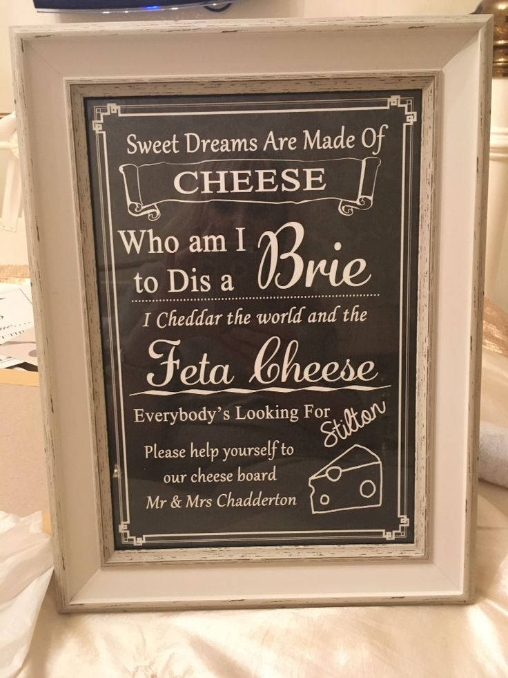 Sign for wedding cheesecake