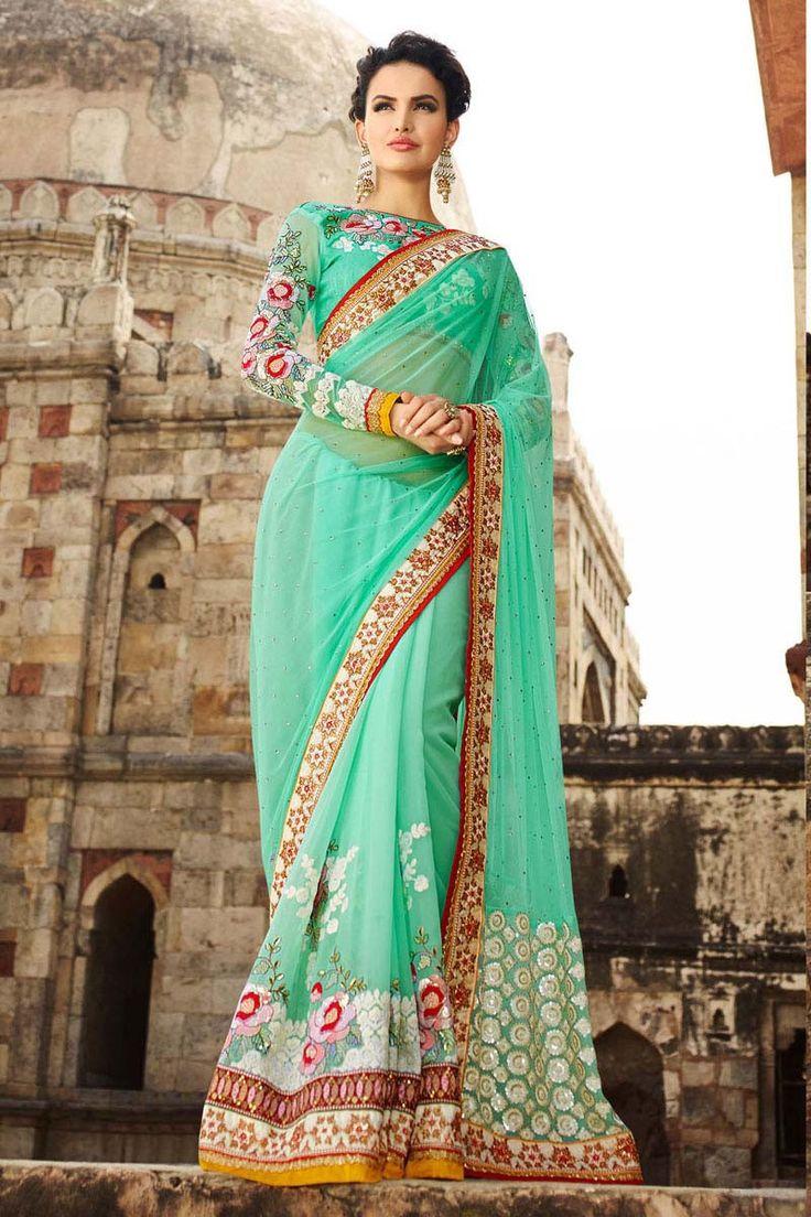 Green Georgette Wedding Saree