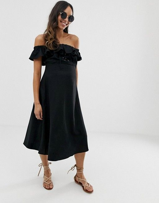 85b830b8248cb9 DESIGN Maternity linen bardot midi dress   Maternity closet   Bardot ...