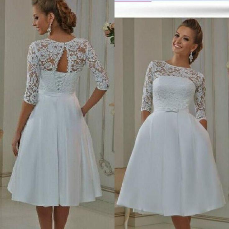 2016 Cheap Tea Length Wedding Dresses Short Sheer Lace Satin Vintage Dress With
