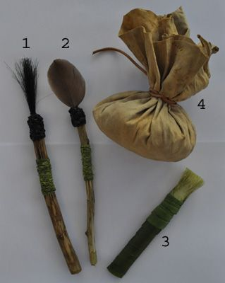 TOOLS: Prehistoric artists employed a wide variety of painting methods,  using their fingers first and later pointed sticks, bone, pads of moss wrapped in hide or brushes made of animal hair, feathers or vegetable fibre. Ochre crayons were also used to apply pigment directly onto the surface. They also used spray painting techniques, by spitting out the mixed paint from their mouths and even using reeds or specially hollowed bones - saliva acts as a binder