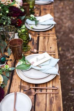 rustic inspired table - photo by Michelle Chiu Photography http://ruffledblog.com/flora-and-fauna-wedding-inspiration