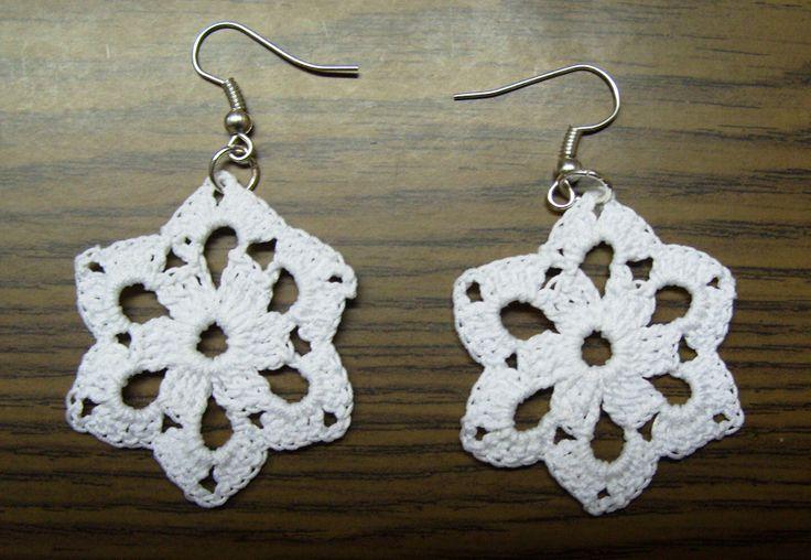 White crochet earrings.