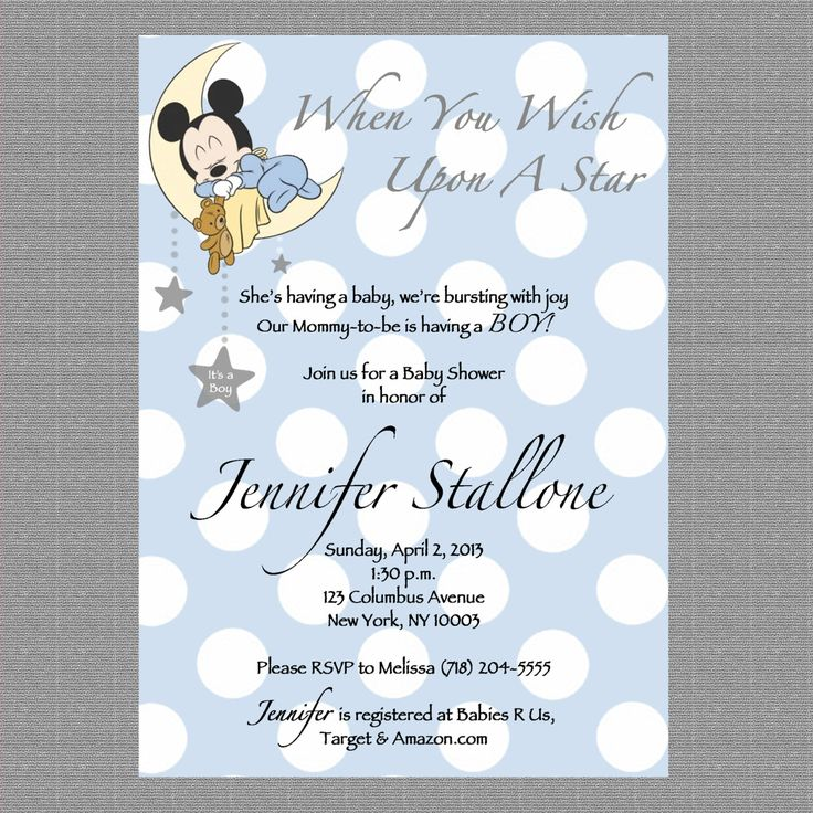 Printable Custom Baby Mickey Baby Shower Invite by CarolannRoseDesigns on Etsy