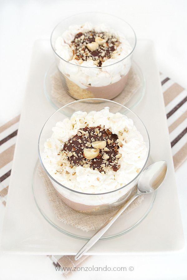 Verrine ciocco-ricotta e nocciole - Ricotta, hazelnuts and cocoa verrines   From Zonzolando.com